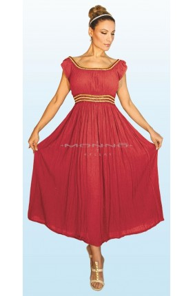 """(008) """"ΛΗΔΑ"""" Μάξι Φόρεμα με χρυσό βαμβακερό λάστιχο στη μέση και στην λαιμόκοψη . Μοναδική εφαρμογή!"""
